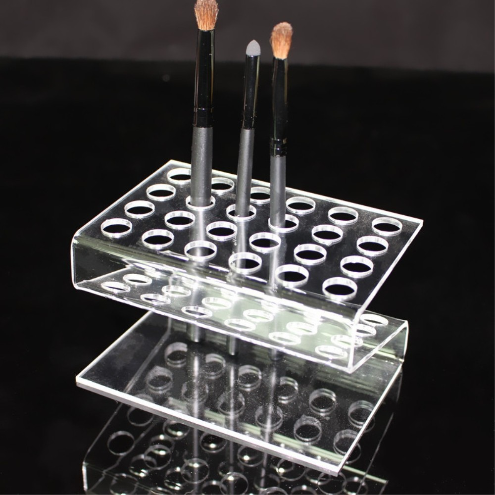 24 Grids Eyebrow Pencil Positioning Frame Acrylic Makeup Organizer Lipstick Pen Shelf Holder Multi Function Exhibition Stand