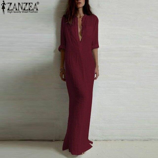 Vestidos 2018 ZANZEA Frauen Retro Lange Kleid Elegante Sexy Damen Lange Hülse Tiefen V-ausschnitt Lange Split Festen Boden- länge Kleid