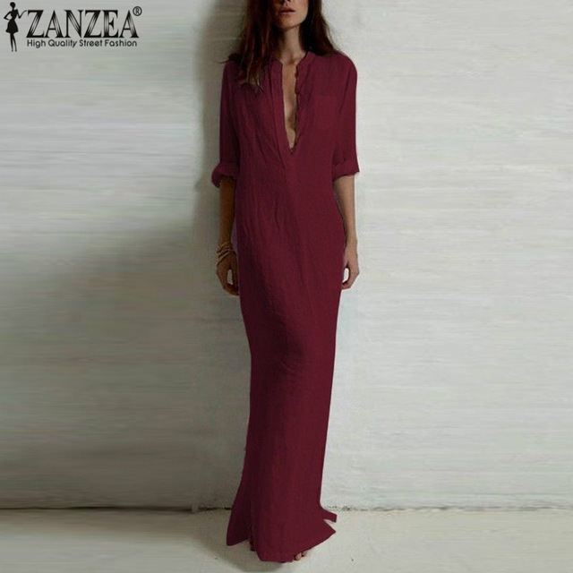 Vestidos 2018 ZANZEA Gratë Retro Long Dress Up Retro Elegant Sexy Zonja Long Long Deep V Qafa Long Split Fustan i gjatë