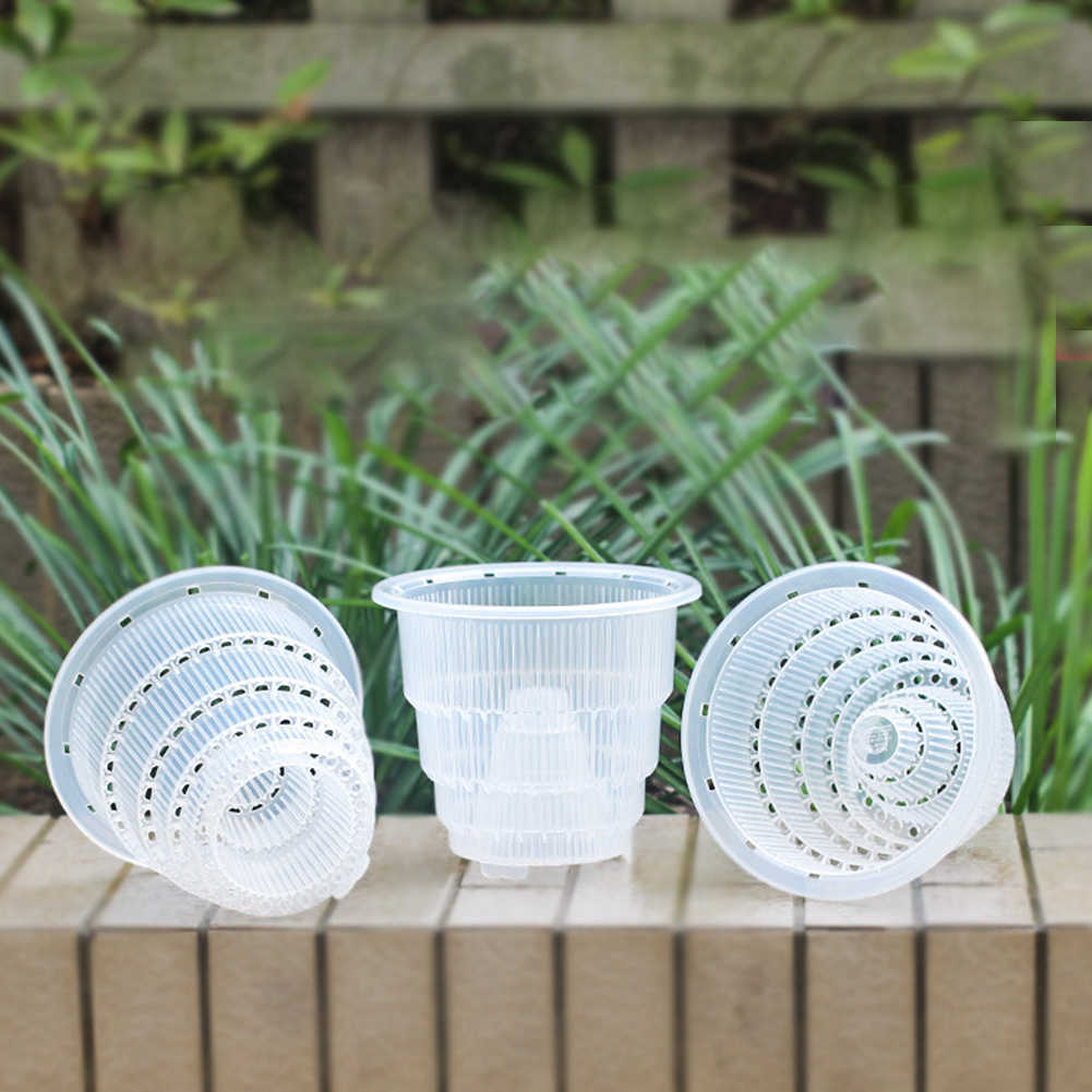 5-7 inch Orchid Clear Flower Pot  Planter Breathable Slotted Mesh Fleshy