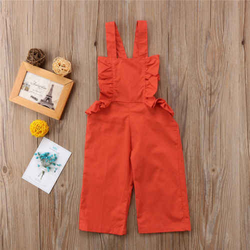 new fashion Toddler Kid Baby Girl clothes Strap sleeveless overalls ruffles solid Outfits Clothes
