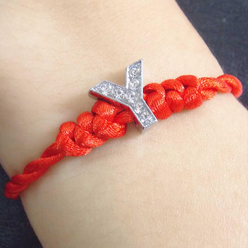 Szczęście bransoletka nowy A-Z ręcznie wykonane kryształowe czerwony moda 1PC dziewczyny prezent kobiety mężczyźni proste 26 list para
