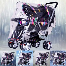 Clear Waterproof Stroller Rain Cover Weather Pram Baby Infant Double Pushchair Wind Shield Rain Covers Outdoors Rain Gear Canopy