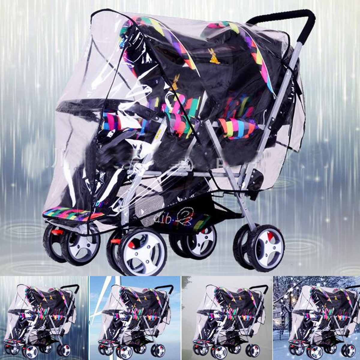 Clear Waterproof Stroller Rain Cover Weather Pram Baby Infant Double Pushchair Wind Shield Rain Covers Outdoors Rain Gear Canopy|Rain Covers| |  - title=