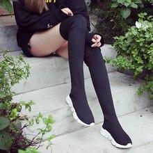Herbst Stiefel Frauen Socke Schuhe Stretch Stoff Schuhe Slip On Über das Knie Stiefel frauen Pumpen Stiefel für frauen 2020 botas de mujer