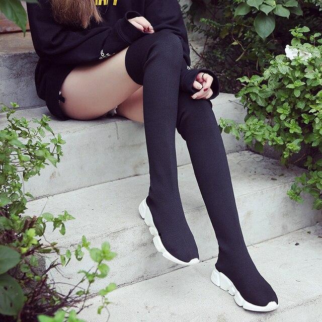 Herfst Laarzen Vrouwen Sok Schoenen Stretch Stof Schoenen Slip On Over De Knie Laarzen Vrouwen Pompen Laarzen Voor vrouwen 2020 Botas De MujerOver de knie laarzen