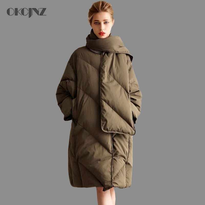 bfe2573f8f0 Женские куртки бренды толстые теплые плюс размеры Свободные белая утка фугу  куртка длинный гусиное перо пальто