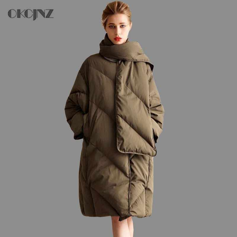 54ee0819c44 Detail Feedback Questions about Womens Down Jackets Brands Thick Warm Plus  Size Loose White Duck Puffer Jacket Long Goose Feather Coat Scarf Outerwear  ...