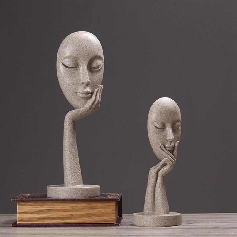 Fashion Nordic Modern Minimalist Soft Decoration Woman Face Model Home Accessories Living Room Hotel Decoration Ornaments in Figurines Miniatures from Home Garden