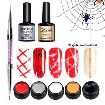 8pcNail Art Painted Gel Liner Pulling Silk Spider Drawing Painted Wire Soak Off UV Gel Top&Base Coat Nail Nail Polish Kit