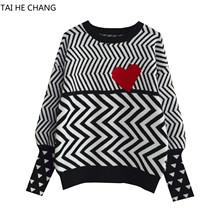 Las mujeres de alta calidad pista de la calle suéteres rayas ola nuevo  diseñador de moda Otoño e Invierno de punto suéteres suét. e304c5392d17f