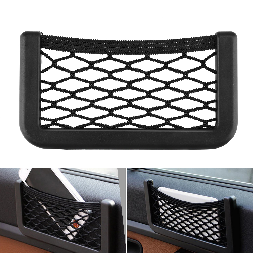 2019 Super Big 20cm x 8cm Auto Seat Back Storage Mesh Bag Car Organizer Net Magic Sticking Holder Pocket Car Trunk Organizer