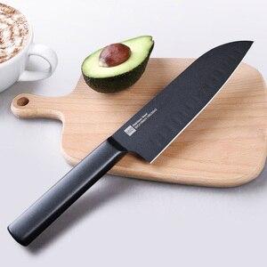 Image 3 - Huohou ensemble de couteaux de cuisine antiadhésifs en acier inoxydable, couteau de cuisine noir, Cool + couteau à trancher de 307mm + couteau de Chef de 298mm de xiaomi Youpin