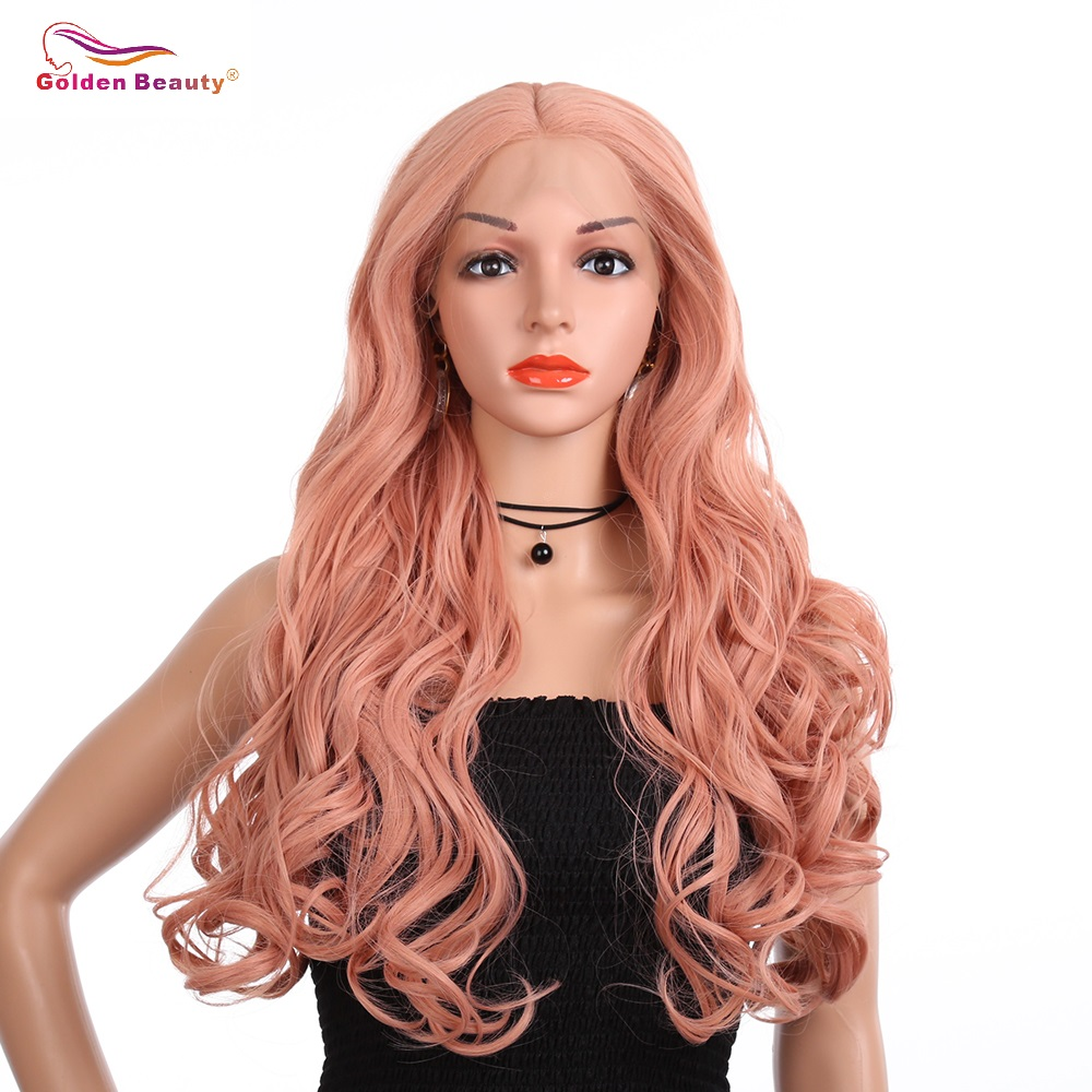 Pink Lace Front Wigs Synthetic Middle Part Long Wave Rose Gold Hair Heat Resistant Comfortable and Adjustable Wig Golden Beauty