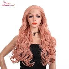Лучший!  Парики из розового кружева Синтетическая средняя часть Длинные волны из розового золота для волос