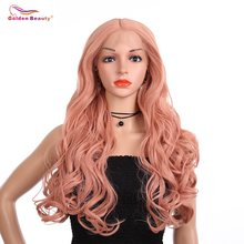 Pink Lace Front Wigs Synthetic Middle Part Long Wave Rose Gold Hair Heat Resistant Comfortable and Adjustable Wig Golden Beauty(China)