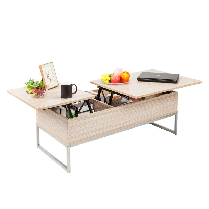 Adjustable Lift Top Coffee Table Modern Furniture Hidden Compartment And Lift Tabletop Imitation Wood Grain Color