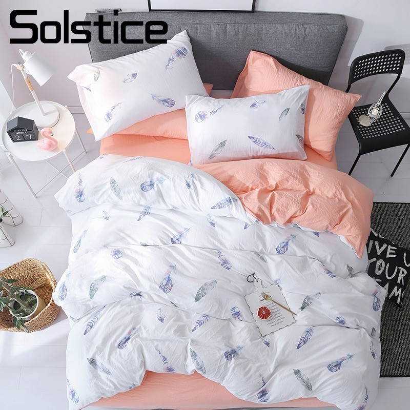 Solstice Home Textile White Orange Solid Feather Print Duvet Cover Pillowcase Flat Bed Sheet Girl Adult Woman Bedding Linens SetSolstice Home Textile White Orange Solid Feather Print Duvet Cover Pillowcase Flat Bed Sheet Girl Adult Woman Bedding Linens Set