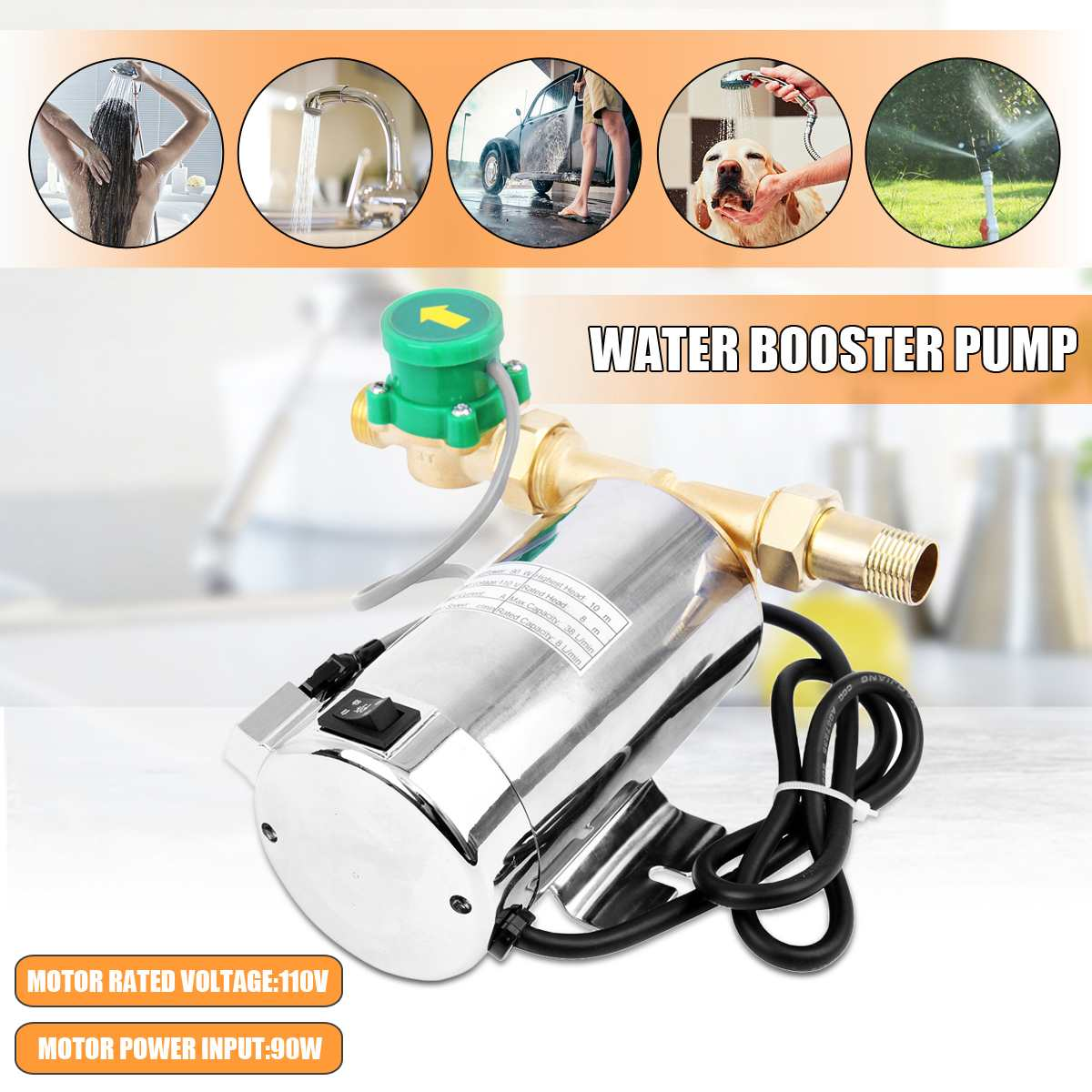 1Pcs Stainless Steel Automatic Home Shower Washing Machine Water Booster Pump 90W 110V 60Hz US Plug