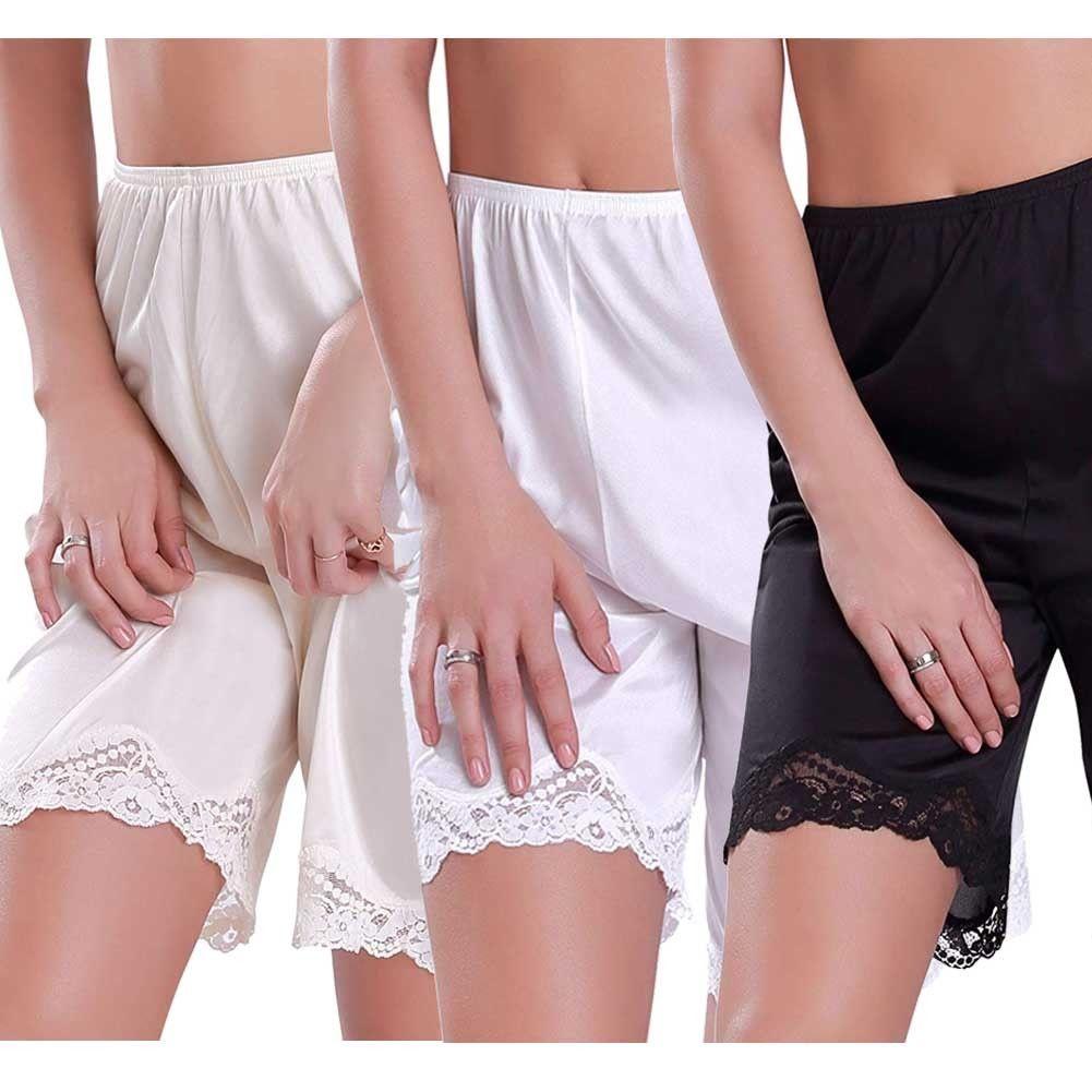2020 New  Women Lace  Slip Pettipants Loose Satin Bloomers Panties Short Lingerie Sleepwear