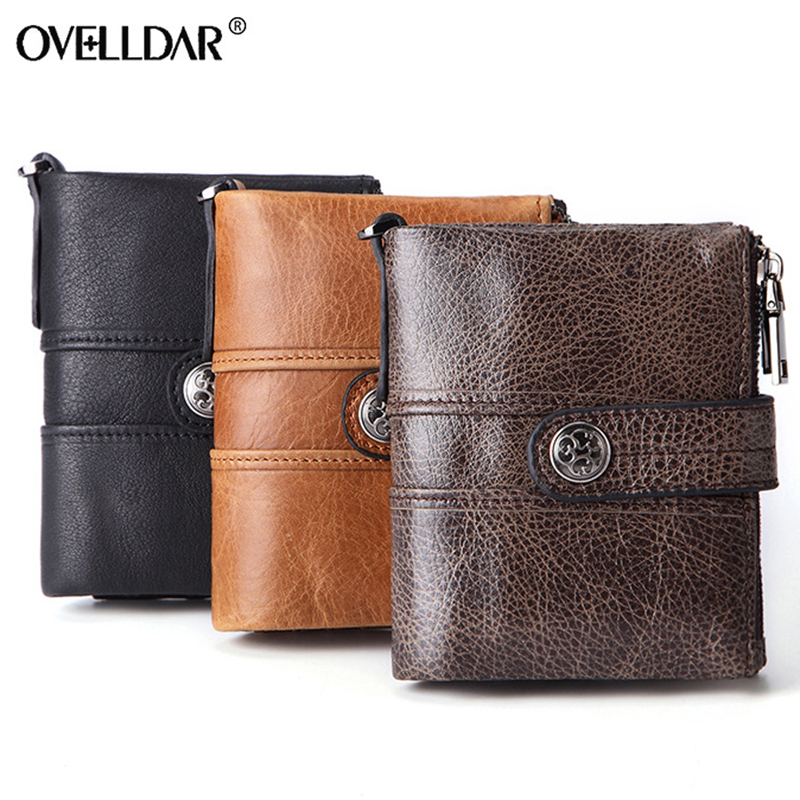 RFID Genuine Leather men wallets Short Solid Zipper Hasp mens wallet Card Holder cow leather purses fashion 2019 hot selling in Wallets from Luggage Bags