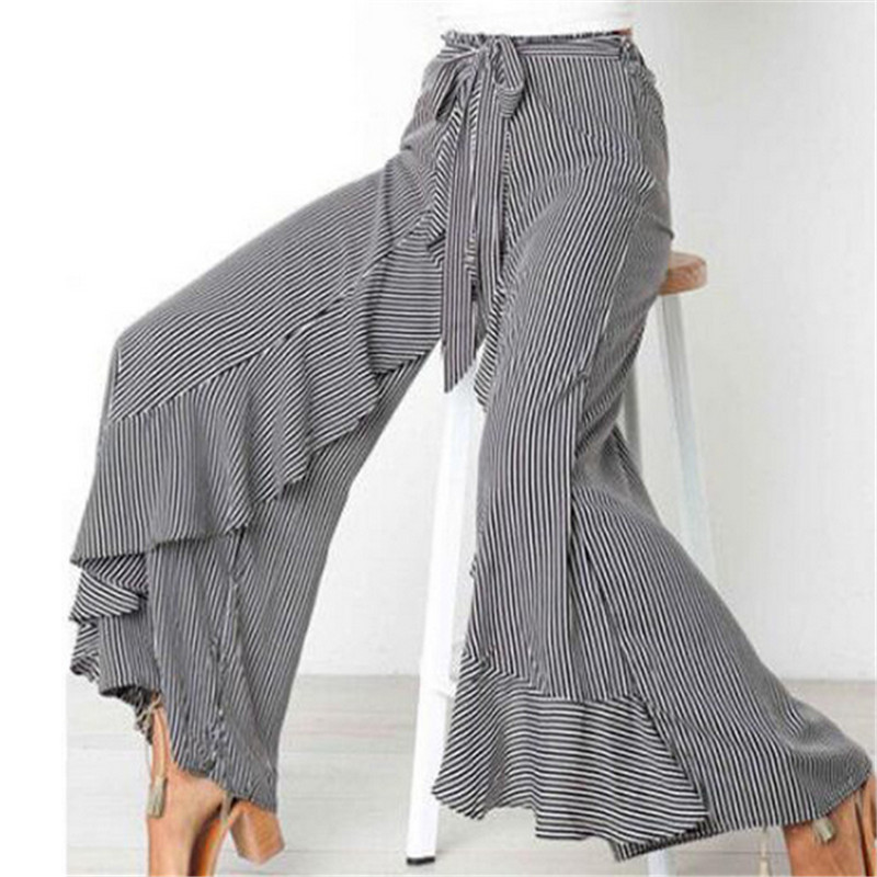 New Fashion Women Casual Palazzo Flared   Wide     Leg     Pants   Loose High Waist OL Ladies Career Long Trousers US