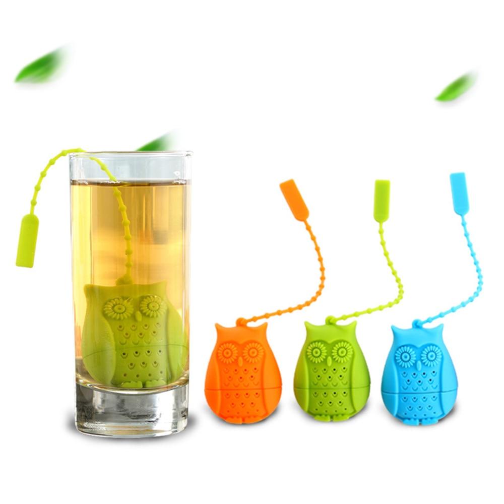 1pcs Food Grade Silicone Tea Infuser Filter Creative Cartoon Owl Tea Strainer Container Reusable Tea Bags Teapots Accessories