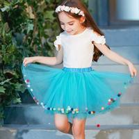Baby Girls Tutu Skirts Kids Elastic Waist Tutu Skirt Girl Princess Tulle Skirt Colorful Pompom Mini Skirts Children Clothes