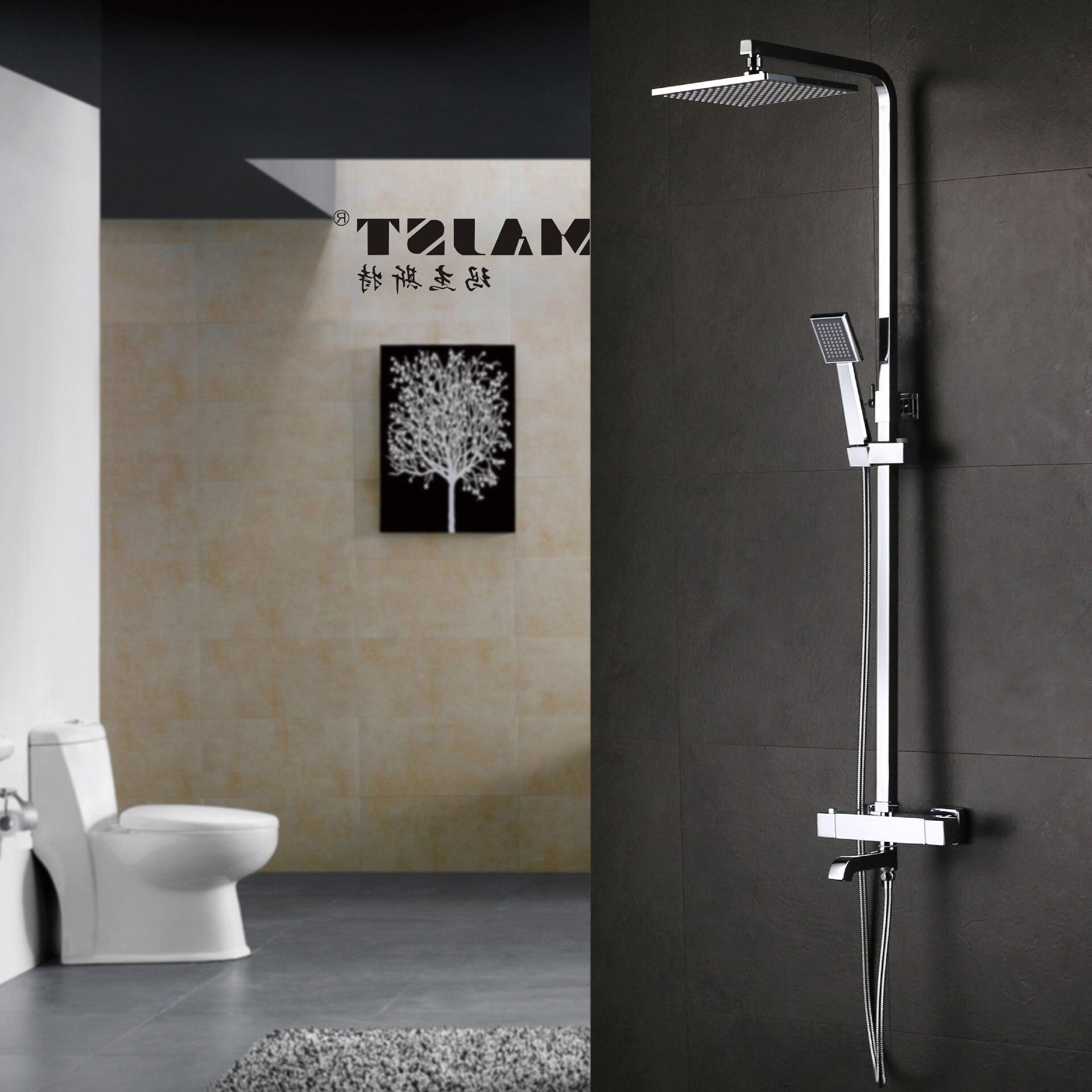 Ensemble de douche de salle de bain laiton Chrome robinet de douche mural pommeau de douche buse d'économie d'eau aérateur colonne de douche thermostatique