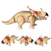 Unisex boys Multi Light Walking Electric girls and Dinosaur Children's Simulation Music Toys Model Triangle-dragon