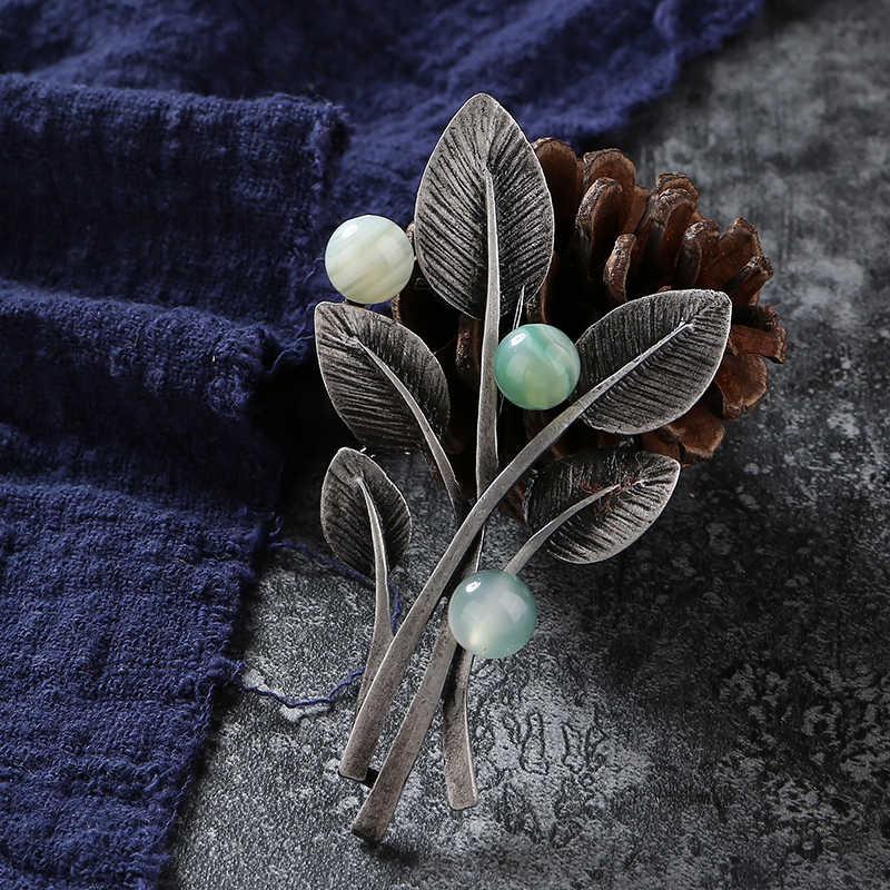 Retro Cabang Pohon Daun Pin dan Bros untuk Wanita Batu Permata Bros Pin Batu Alam Daun Tanaman Bunga Bros Lencana Perhiasan