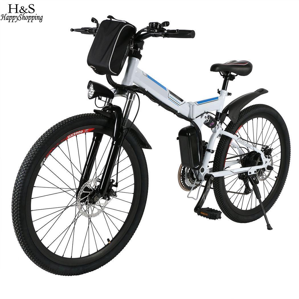 EU/UK Plug Bianco Pieghevole 26 inche bici elettrica assorbimento degli urti ebike Montagna Della Bici Elettrica con 36 V 8AH batteria Agli Ioni di litio