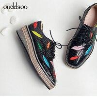 Ouddsoo 2019 в британском стиле женская обувь с лентами на обувь в стиле Дерби из натуральной кожи женские цепь губная помада Женская Туфли без ка