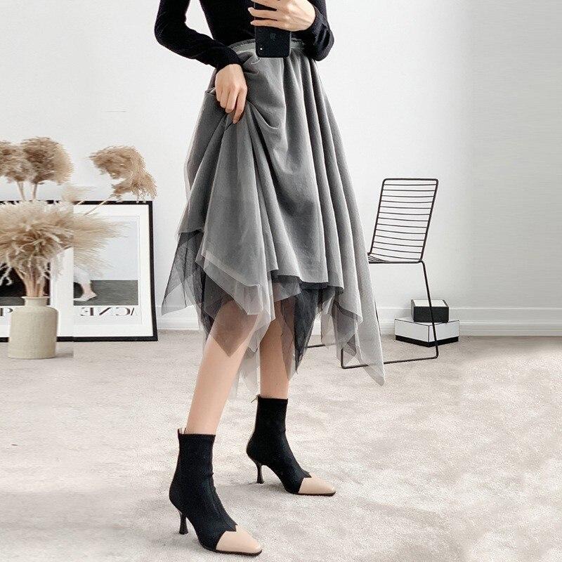 Femmes Jupe Mode Gray Maille Printemps Asymétrique E030 2019 Femme Pour Coréenne Décontracté Vêtements Jupes Midi Haute Taille THCw0t