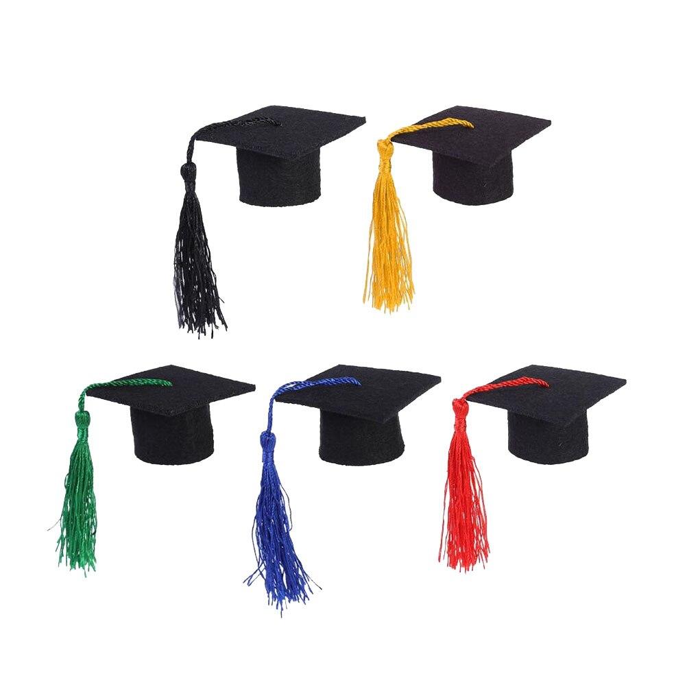 5Pcs/Pack Mini Graduation Cap Wine Bottle Decorative Tassel Cap Fancy Dr Graduated Bachelor Hat For Graduation Party