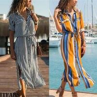 Весеннее женское повседневное Длинное Макси Вечернее пляжное платье Сарафан