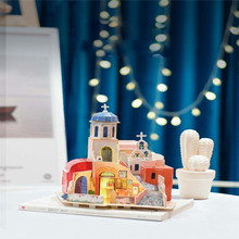 Assemble Handmade Creative Fairy Tale Town Dollhouse Jigsaw Puzzle Children Assembly Model Toys Adult Kids Decoration House цена