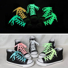 1 Pair Laces Sportings Luminous Laces Light Green Light Yellow Glow In The Dark Colors Hot Sale Fluorescent Lace Flat Shoes(China)