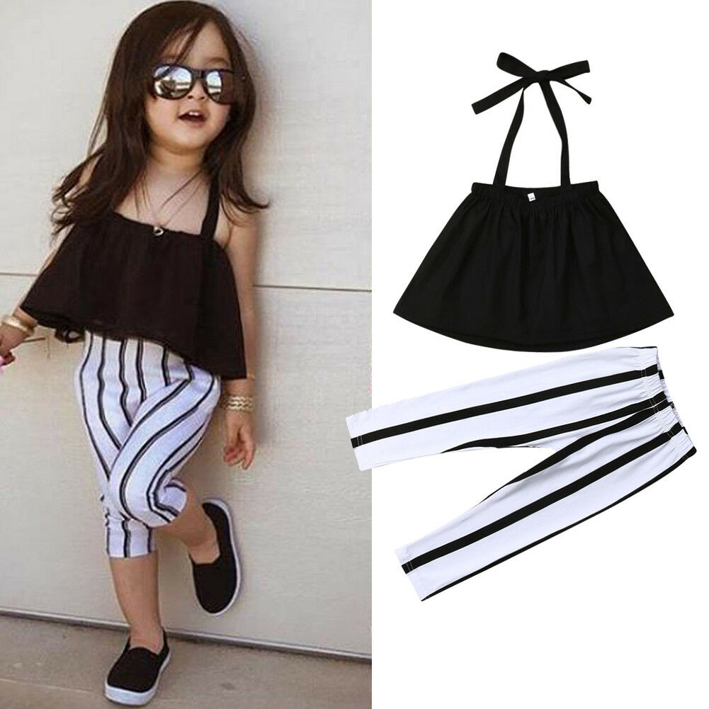 Fashion New Toddler Baby Girls Summer Clothes Infant Girls Cotton Lace Up Shirt Tops+Striped Pants 2pcs Outfits Set Clothes