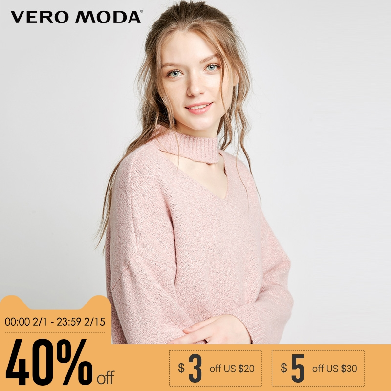 Vero Moda новый простой пригородных сплошной цвет Открытый воротник дизайн заниженной плеча пуловер вязать женщин | 318113520