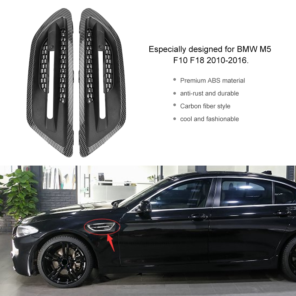 1Pair Car Side Air Flow Vent Grill Cover Carbon Fiber Style Trim Universal for BMW M5 F10 F18 2010 2011 2012 2013 2014 2015 20161Pair Car Side Air Flow Vent Grill Cover Carbon Fiber Style Trim Universal for BMW M5 F10 F18 2010 2011 2012 2013 2014 2015 2016