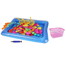 55pcs Fishing Game Bathtime Party Beach Pool Funny Magnetic Educational Toy Fishing Toy for Kids(China)