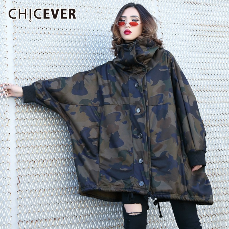 CHICEVER Camouflage   Trench   Coat For Women Hooded Batwing Sleeve Zipper Hit Colors Oversize Thick Coat Female Fashion Clothes New