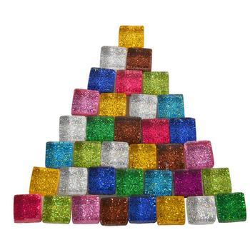 10 colores forma cuadrada mosaico de vidrio azulejo brillo monocromo para arte suministros para manualidades regalo decoración del hogar paquete en caja