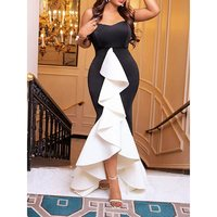 Women Sexy Strapless Party Dress Black Layer Ruffles Evening Ladies Summer High Low Backless Tube Bodycon Elegant Long Dresses
