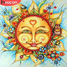 HUACAN Diamond Painting Full Square Stones Cartoon Embroidery Sale Sun Pictures With Rhinestones Hobby And Handicraft