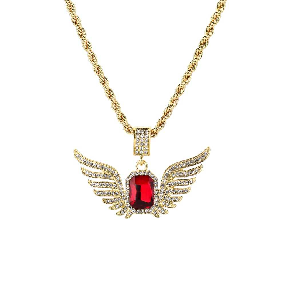 Unisex Hip Hop Chain Necklace Rhinestone Angel Wings Necklace Square Red Crystal Pendant Necklaces For Women Men Jewelry