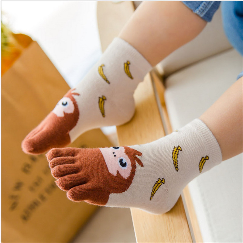 Newest Kawaii Children Socks 5 Color Cotton Animal Boys Girls Socks Cheap Stuff Toe Socks For Kids Five Finger Socks 3-7T/7-12T