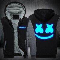 Xijun USA SIZE Marshmello Luminous Glowing hoodies sweatshirt Men Hoody Fleece Thicken Hip Hop Hooded Zipper Winter Jackets Man