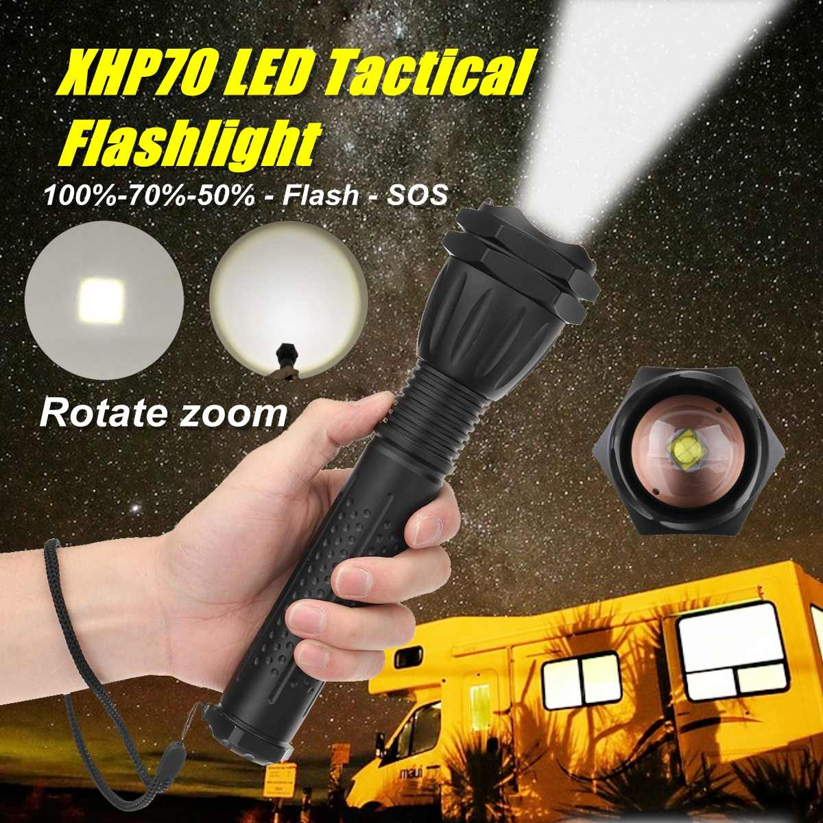 90000LM LED Zoomable Flashlight XHP70 Torch USB Rechargeable Tactical Lamp Light